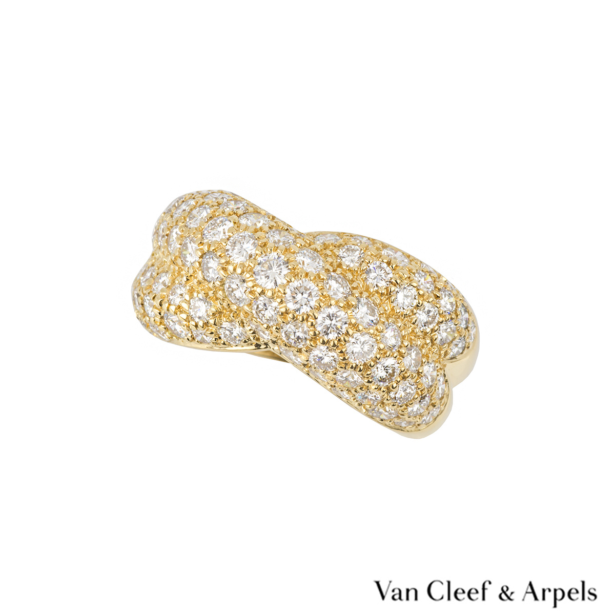 Van Cleef & Arpels 18k Yellow Gold Diamond Set Dress Ring